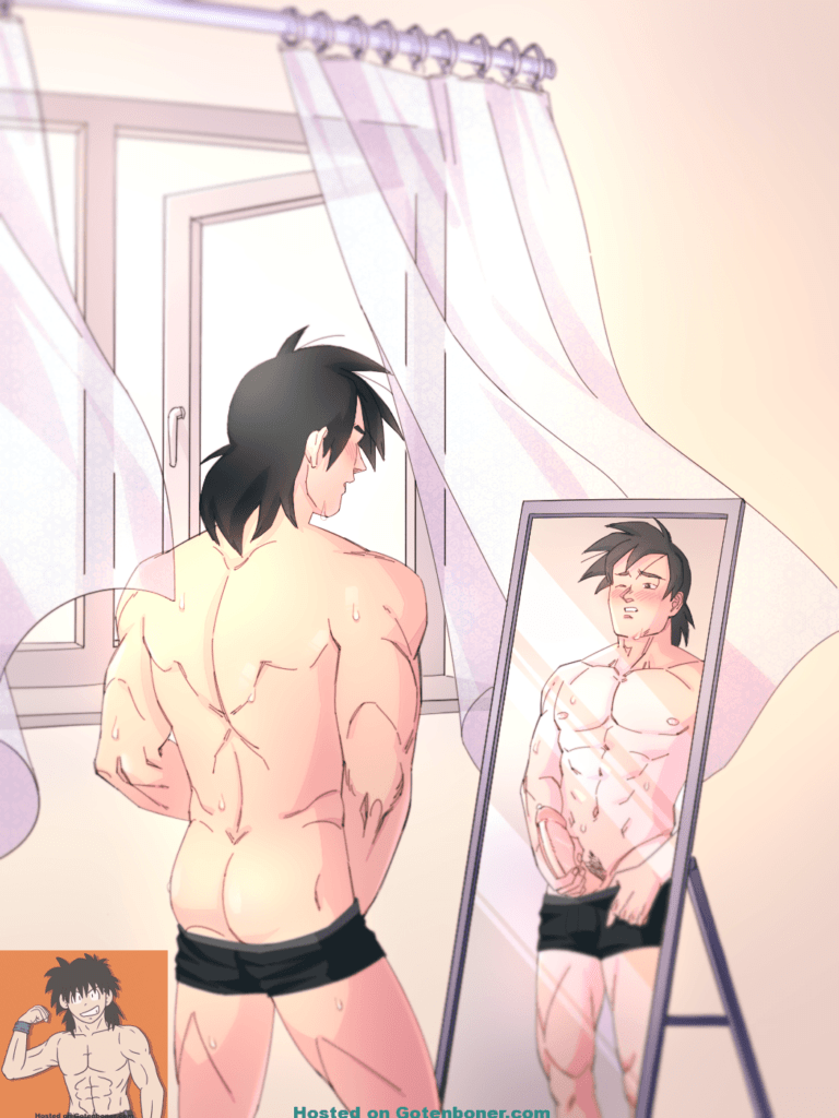 Magic Briefs - Goten looking in the mirror with a huge cock